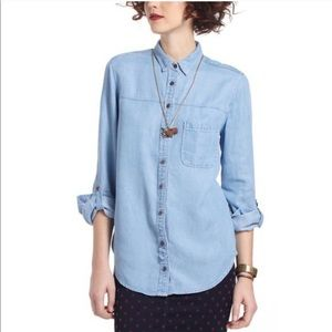 Anthropologie Holding Horses Chambray Button Shirt